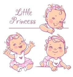 Little baby girl set vector
