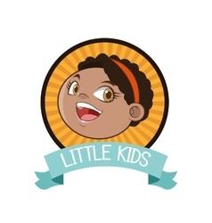 little girl inside seal stamp design vector image