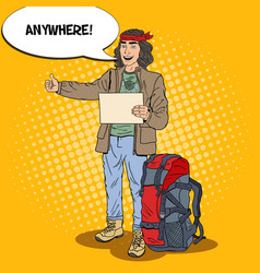 pop art hitchhiking man travel with backpack vector image