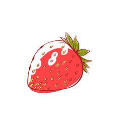 Ripe strawberry isolated icon vector