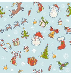 Seamless Christmas hand drawn pattern with symbols vector image vector image