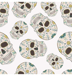 Seamless pattern with day of the dead skulls vector