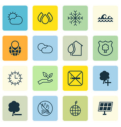 Set of 16 eco icons includes pin earth save vector