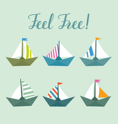 set with bright ships childish elements vector image vector image