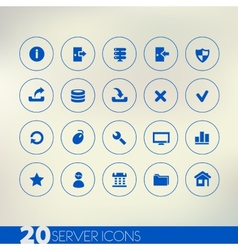 Thin simple server blue icons on light background vector