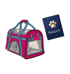 travel with cats dogs - transportation bag vector image