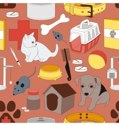 Veterinary pet icons pattern vector image