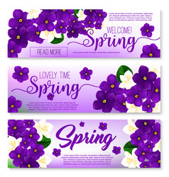 welcome spring floral banner with flower bouquet vector image vector image