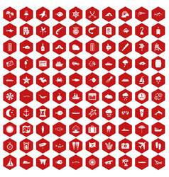 100 marine environment icons hexagon red vector