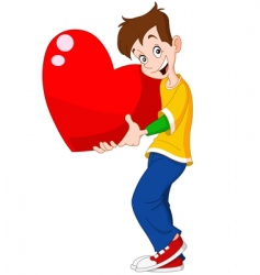 teenager holding heart valentine vector image
