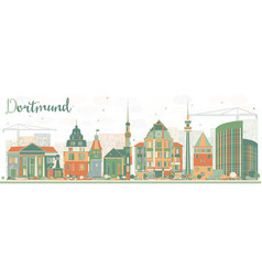 Abstract dortmund skyline with color buildings vector