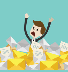 businessman or manager has a lot of emails vector image