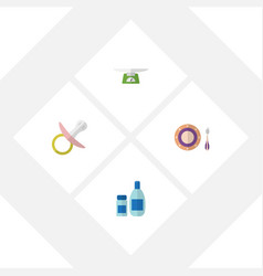 Flat kid set of baby plate cream with lotion vector