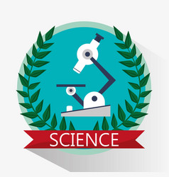 Science microscope biology equipment emblem vector