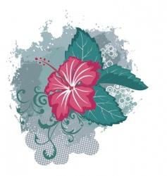grunge hibiscus flower vector image