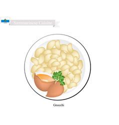 Gnocchi a famous dish in san marino vector