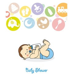 Baby boy with baby bottle vector