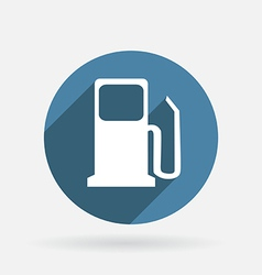 Gas station circle blue icon with shadow vector