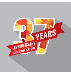 37th years anniversary celebration design vector