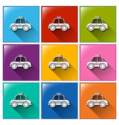 Buttons with taxi cabs vector