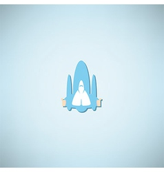 Cartoon doodle hand in spacecraft icon vector