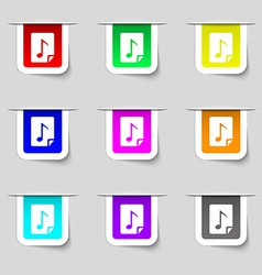 Audio mp3 fileicon sign set of multicolored modern vector