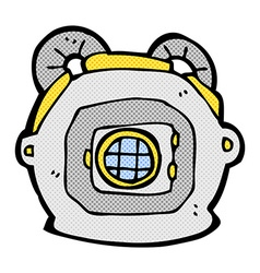 Comic cartoon old deep sea diver helmet vector