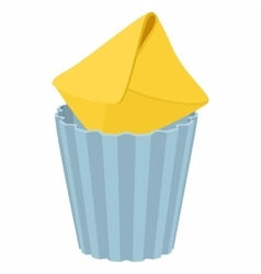 Yellow envelope in trash bin icon cartoon style vector