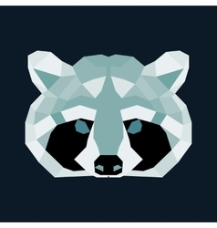 Green and black low poly raccoon vector