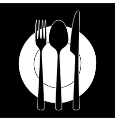 Fork knife and spoon on a plate vector