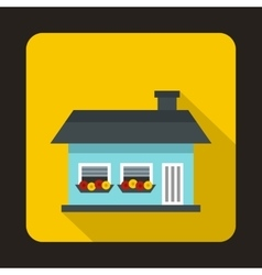 Small blue cottage icon flat style vector image