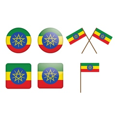 badges with flag of Ethiopia vector image