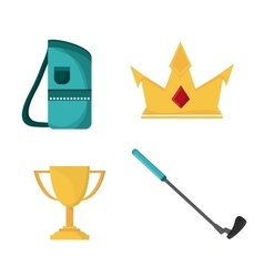 Bag crown trophy and club icon golf sport design vector
