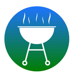 Barbecue simple sign white icon in bluish vector