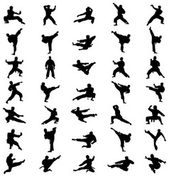 Black karate silhouettes vector
