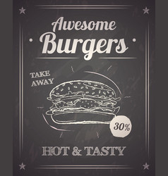 burger monochrome poster on chalkboard vector image
