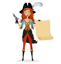 Cartoon pirate girl with powder gun and scroll vector