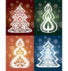 Collection of lacy trees winter vector