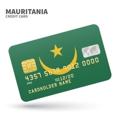 Credit card with Mauritania flag background for vector image