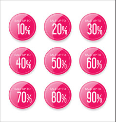 Discount sale stickers pink collection vector