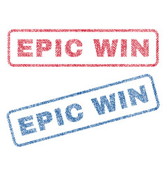 Epic win textile stamps vector