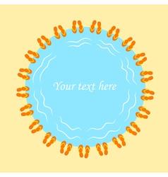 Flip flops frame for text beach flip flops blank vector