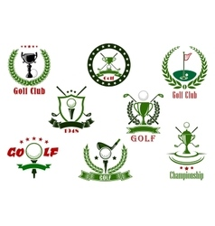 Golf club and tournament sport icons vector image vector image