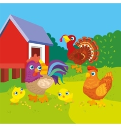 Hen With Rooster And Chickens vector image