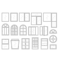 Icons set of windows types vector