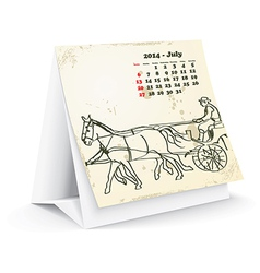 July 2014 desk horse calendar vector