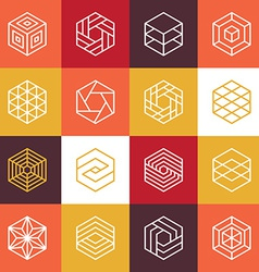 linear hexagon logos and design elements vector image vector image