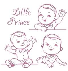 Little baby boy set vector image vector image