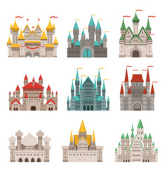 medieval old castles and historical buildings with vector image vector image