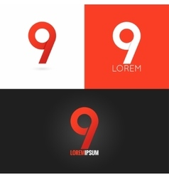 number nine 9 logo design icon set background vector image